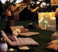 Backyard Movie Night home movie decorate backyard entertain furniture projector