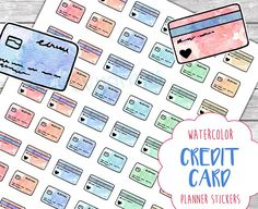 Watercolor credit card stickers, a DIY printable sticker sheet for your financial planner.  These hand drawn sticker printables come in rainbow colors and have cute watercolour patterns to make you feel better about your due bills. :)  These work well with my Pay Day & Shopping sticker sheet, too. https://www.etsy.com/listing/533169937/pay-day-bills-and-shopping-watercolor?ref=shop_home_active_1  _______________________  This listing is for a DIGITAL FILE DOW...
