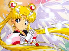 Eternal Sailor Moon - wings, blonde hair, eternal sailor moon, feathers, blue eyes, sailor moon, crescent moon, senshi