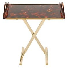 Adjustable Height Butler's Tray and Stand by Gabriella Crespi  Italy  Circa 1970s  This chic Gabriella Crespi piece features a faux tortoise shell handled acrylic tray with brass accents set atop an adjustable-height brass X base.