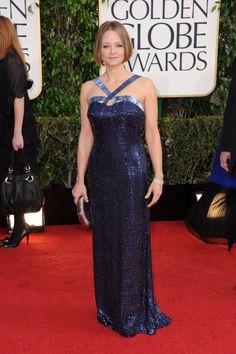 Celebrities en la alfombra roja de la 70 edición de los Globos de Oro: Jodie Foster, de Giorgio Armani.