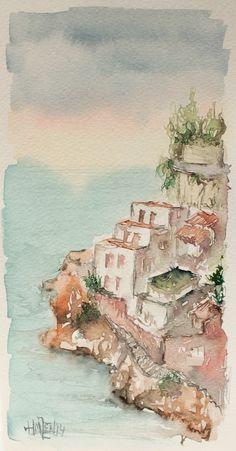 Postales de acuarela - Pueblo costero. Watercolor postcards- Seaside town. HMZEN'14