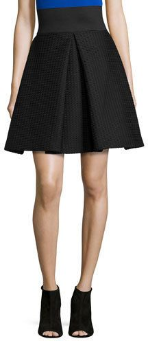 926c32b4a $395, Black Skater Skirt: Milly High Waisted Pleated A Line Bubble Skirt  Black.