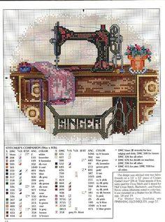 old fashioned sewing machine cross stitch - Google Search