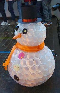 enfeite de natal reciclado boneco de neve com copinhos
