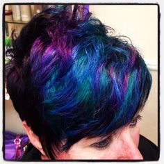 Black short and sassy multi color oil slick