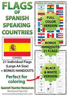 Flags of Spanish-speaking countries - Ideal for decorating the Spanish classroom + Bonus handouts. Banderas de los países de habla hispana.