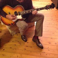 John Lobb Chambord in Meleze buffalo, Mabitex trousers and 1967 Epiphone Howard Roberts guitar.