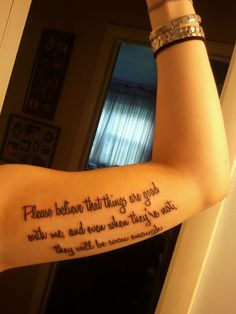 This is my third tattoo and definitely the most meaningful. It's a quote from one of my favorite books, The Perks of Being a Wallflower. When I read this book, I related to the main character, Charlie, so much that it helped me understand and overcome s