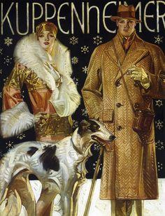 J.C. Leyendecker : A Stroll In The Snow 1925