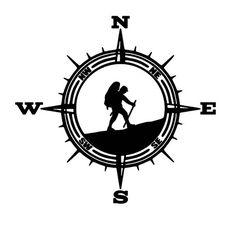 Vinyl Decal For Jeep Wrangler Accessories For Jeeps Car Car Decals, Vinyl Decals, Hiking Tattoo, Compass Rose, Travel Logo, Jeep Wrangler, Stencils, Logo Design, Adventure