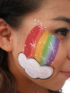 Rainbow and cloud - Easy Face Painting Ideas - Simple Face Paint Idea - #rainbow #cloud #facepaint #facepainter #facepainting #easyfacepainting #easyfacepaintingideas