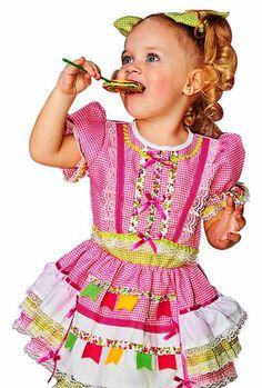 vestido caipira infantil manga longa - Pesquisa Google