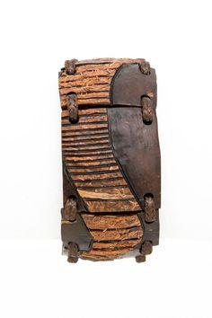 "ON SALE Ethnic bracelet Jewelry from coconut shell ""Komodo"" boho Two tone brown orange art Design Gift for him Men bracelet woodworking Hand - $35.00 USD"