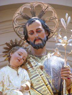 A detail of the statue of Saint Joseph in Kirkop, Malta.