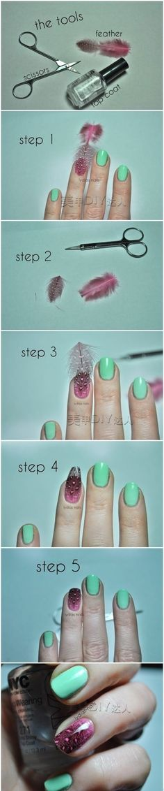 DIY Feathered Nails nails diy craft nail art nail trends diy nails diy nail art easy craft diy nail tutorial easy craft ideas