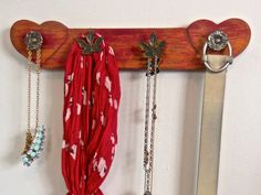 Red Hearts Accessory Organizer Wall /Romantic Gift For Her/Jewelry Storage/Paint Distressed/4 Knobs