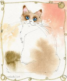 Ewa Ludwiczak created this piece of a quite cheery looking blue-eyed feline.