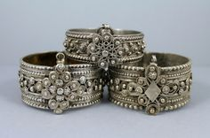 A trio of Palestinian silver bracelets, probably munamname bracelets which were made and worn in Galilee.