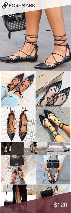 Zara Black Leather Lace-Up Ballerina Flats New with tags! Sold out and seen on countless fashion bloggers! Price is firm unless purchased on Merc! Zara Shoes Flats & Loafers