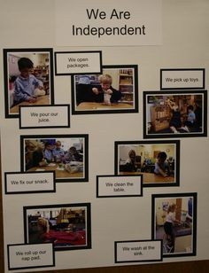 An idea for establishing things that the kids can do in different areas.