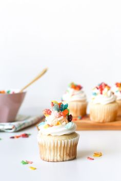 Skip the traditional birthday cake for cereal milk cupcakes instead for your next party