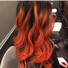 Flaming Orange Balayage done by Sydney. Yellow Hair Color, Bright Red Hair, Hair Color Dark, Hair Color Highlights, Balayage Hair, Haircolor, Pastel Hair, Mermaid Hair, Wig Hairstyles