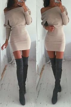 One Piece Bandage Bodycon Dress Vestido Feminino Long Sleeve Fashion Women Winter Dress Elegant Vestidos Knitted Sweater Dress Vestidos Sexy, Mini Vestidos, Vestidos Vintage, Sexy Dresses, Cute Dresses, Short Dresses, Party Dresses, Sleeve Dresses, Mini Dresses