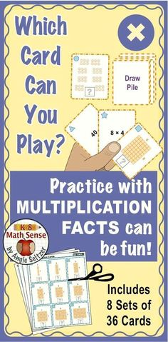 This resource contains 8 different printable 36-card sets for practice with multiplication facts. Use the cards for easy-to-learn matching activities and games. The same games can be played with any set of cards. Try the Preview! ~by Angie Seltzer