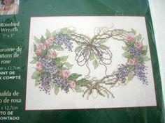 Cross Stitch Donna Dewberry Kit Rosebud Grapevine Wreath Sealed  Needlework Kit