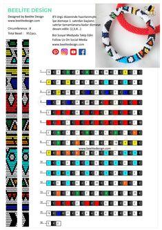 Peyote Beading Patterns, Bead Crochet Patterns, Bead Crochet Rope, Loom Patterns, Loom Beading, Crochet Bracelet Tutorial, Crochet Beaded Bracelets, Collar Redondo, Beaded Bracelets