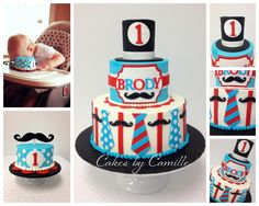 Mustache Bash Birthday Cake, Little Man birthday cake, First Birthday, bow tie cake, Cakes by Camille