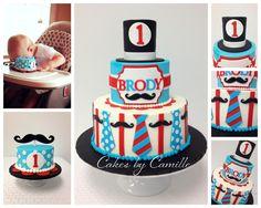 Mustache Bash Birthday Cake, Little Man birthday cake, First Birthday, bow tie cake, Cakes by Camille