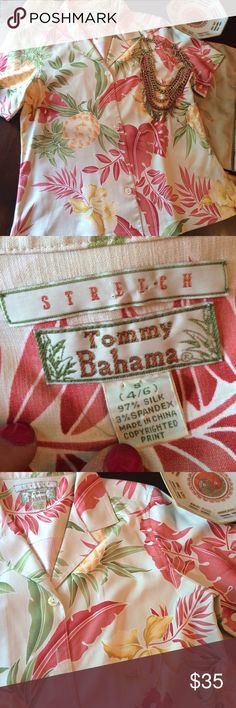 Tommy Bahama Silk Shirt This fresh island shirt is perfect for your staycation this summer or your trip to the tropics!!! Perfect condition! Tommy Bahama Tops Blouses
