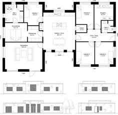 Plantegning_h_hus_200_HusCompagniet 4 Bedroom House Plans, House Floor Plans, Sims 4 Houses, Architecture Plan, House Layouts, My Dream Home, Exterior Design, Room Inspiration, Planer
