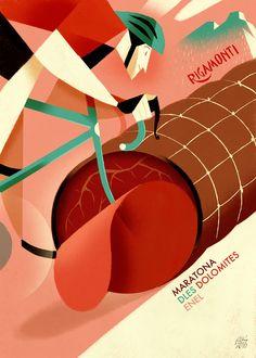 """Maratona dles Dolomites - Enel 2017. Riccardo """"Rik"""" Guasco (1975) - Rigamonti (2016). Illustratore e artista, Rik per i trent'anni della manifestazione, ha realizzato trenta tavole dedicate ai momenti più caratterizzanti della corsa: partenza, arrivo, passi, ciclisti, montagne, volontari, sponsor, alberi, nuvole, strade, folla, bici, entusiasmo, sole, fatica, ristori…"""