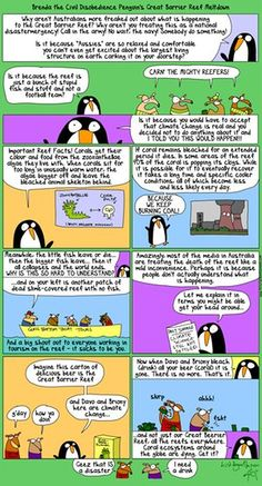 Brenda the Civil Disobedience Penguin: 'The Great Barrier Reef is dying! What is wrong with you people?' Why aren't Australians more freaked out about what is happening to the Great Barrier Reef? Why aren't they treating this as a national disastermergecy? Call in the army! No wait, the navy!