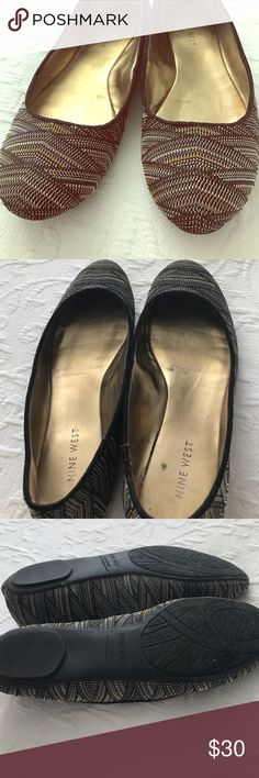 Nine West Metallic and Textured Flats!!! I LOVE THESE. They're my absolute favorite and I honestly have a hard time selling them. They go with everything because they have gold, black, silver, and platinum and can be dressed up or down. They're perfection. EUC Nine West Shoes Flats & Loafers