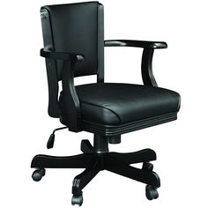 "Comfortable black vinyl seat cusion and back rest Solid wood construction Swivels 360° Tilts backwards Telescopic control to raise or lower the seat height be1ween 20""-25"" Available finishes:"