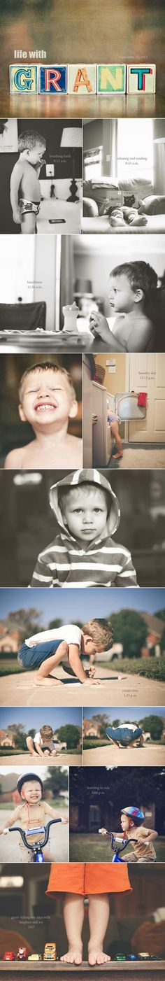 Chronological account of a day in your child's life through photos