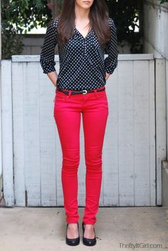 Image result for black shirt red pants