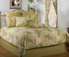 Escape to an exotic getaway with the luxurious Sea Island Tropical Comforter Bedding. Oversized, tropical comforter has a cotton face and features red and coral haze florals with large fern leaves on a solid ivory background. Beach Bedding Sets, Queen Comforter Sets, Queen Beds, Baby Bedding, Quilt Bedding, Tropical Bedding, Tropical Bedrooms, Green Bedrooms, Tropical Decor