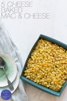 Five Cheese Baked Mac & Cheese recipe, with cauliflower and gluten free bread. That sauce sounds to die for