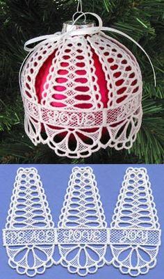 La alegría del amor de la cubierta del ornamento del bulbo de 4 pulgadas (encaje)