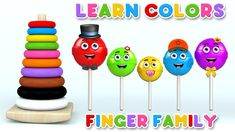 Learn Colors with Color Stack Rings and Lollipop Finger Family Song for Children Finger Family Song, Family Songs, Kids Songs, Learning Colors, Children, Rings, Collection, Cape Clothing, Young Children