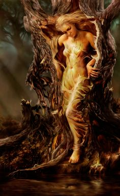 Steve De La Mare ~ Digital Fantasy painter Dryad - A dryad is a tree nymph, or female tree spirit, in Greek mythology. In Greek drys signifies Magical Creatures, Fantasy Creatures, Fantasy Kunst, Fantasy Art, Fantasy Trees, Mystique, Mythological Creatures, Gods And Goddesses, Goddesses Greek