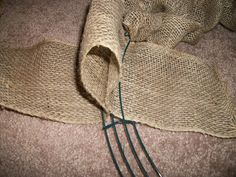 I've been crafty lately. My front door was looking a little sparse, so I thought I'd whip this up. I pinned this burlap wreath tutorial on Pinterest a while ago. Here's what I use… Burlap Crafts, Burlap Wreaths, Burlap Wreath Tutorial, Wreath Crafts, Mesh Wreaths, Diy Wreath, Wreath Ideas, Wreath Making, Diy Home Decor