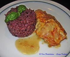 Überbackene Schweinsschnitzel mit Scamorza, Schinkenspeck und lila Reis - https://www.facebook.com/media/set/?set=a.504911189607272.1073741849.504055336359524&type=3