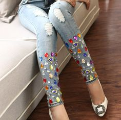 New spring women sparkling diamond jeans with hole handmade rhinestones women ripped denim jeans pants trousers (China (Mainland)) Diy Jeans, Cheap Jeans, Jeans Denim, Ripped Denim, Jeans Pants, Trousers, Shorts, Embellished Jeans, Embroidered Jeans