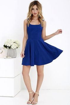 Whether you're home by curfew or keep the party going all night, the Home Before Daylight Cobalt Blue Dress is the perfect party companion! Knit tank straps support a stunning bodice with a sexy square neckline, scoop back, and unique seaming in front. The fun continues with a fit and flare style, thanks to a full circle skirt. Exposed back zipper.